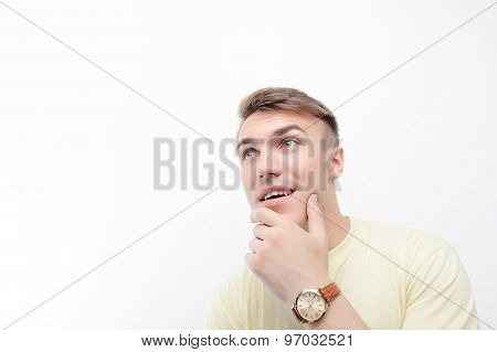 Close up of thoughtful man on isolated background