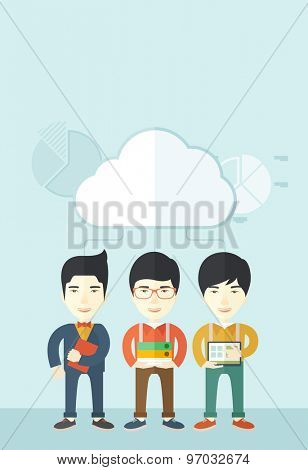 Three asian men standing under the cloud holding book files, notebook and tablet ready for their business presentation. A contemporary style with pastel palette soft blue tinted background with