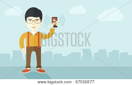 A japanese office worker holding his smartphone vibrating. A contemporary style with pastel palette soft blue tinted background with desaturated clouds. Vector flat design illustration. Horizontal