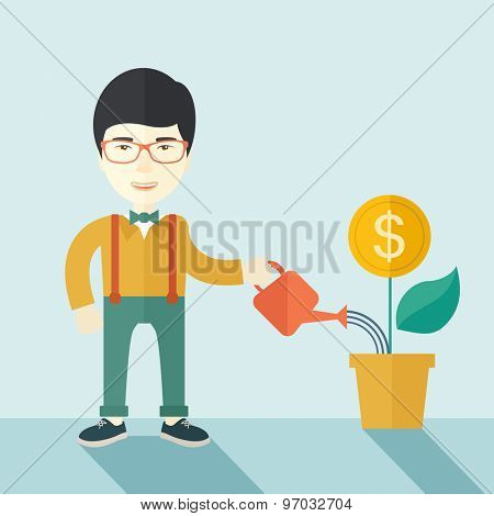 A happy chinese business person watering a growing plant with money flower. Growing business concept. A contemporary style with pastel palette soft blue tinted background. Vector flat design
