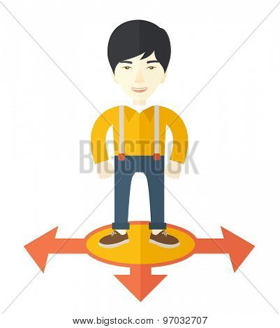 A chinese businessman standing on three ways arrows for selection. Business concept. A Contemporary style. Vector flat design illustration isolated white background. Square layout