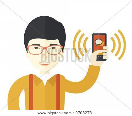A chinese office worker holding his smartphone vibrating. A Contemporary style. Vector flat design illustration isolated white background. Square layout