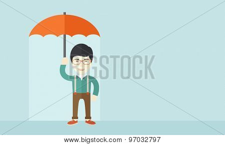 A successful businessman standing with umbrella for his protection against sun and rain. A contemporary style with pastel palette soft blue tinted background. Vector flat design illustration