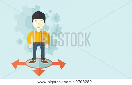 A chinese businessman standing on three ways arrows for selection. Business concept. A contemporary style with pastel palette soft blue tinted background. Vector flat design illustration. Horizontal