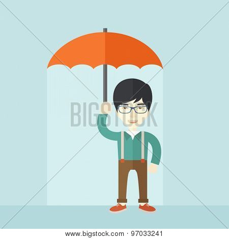 A successful businessman standing with umbrella for his protection against sun and rain. A contemporary style with pastel palette soft blue tinted background. Vector flat design illustration. Square