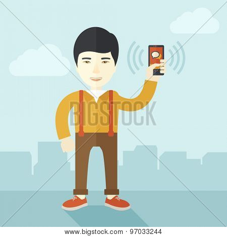 A japanese office worker holding his smartphone vibrating. A contemporary style with pastel palette soft blue tinted background with desaturated clouds. Vector flat design illustration. Square layout
