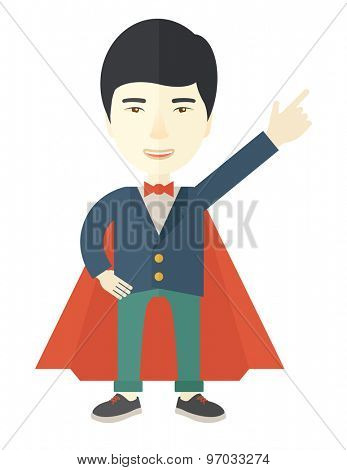 A hero chinese businessman pointing up high to the sky with success and vision to be number one in business. Motivation concept. A Contemporary style. Vector flat design illustration isolated white