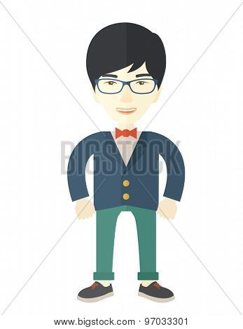 A very confident asian guy standing straight showing that he has a strong teambuilding togetherness. Teamwork concept. A Contemporary style. Vector flat design illustration isolated white background