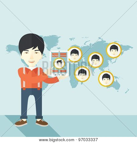 An asian identification, face in world map in every destinations.  A contemporary style with pastel palette soft blue tinted background. Vector flat design illustration. Square layout.