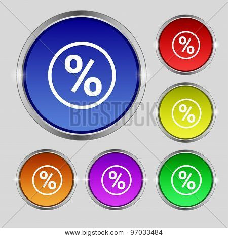 Percentage Discount Icon Sign. Round Symbol On Bright Colourful Buttons. Vector