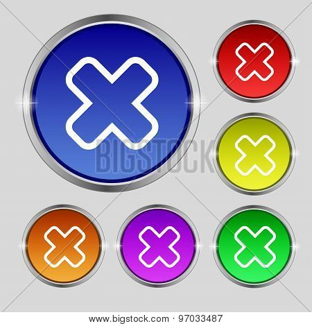 Cancel Icon Sign. Round Symbol On Bright Colourful Buttons. Vector