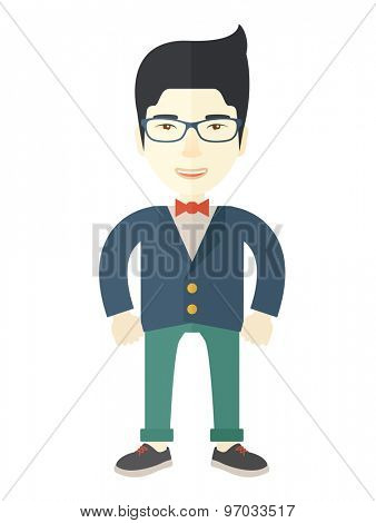 A happy asian businessman standing. Successful business concept. A Contemporary style. Vector flat design illustration isolated white background. Vertical layout.