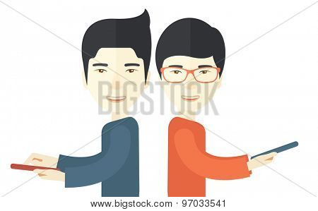 A two asian businessmen using their mobile phone for business proposal. . A contemporary style. Vector flat design illustration with isolated white background. Horizontal layout.