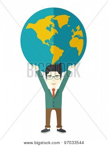 A chinese businessman carrying big globe it is a symbol that he is number one in the world in business society. A Contemporary style. Vector flat design illustration isolated white background