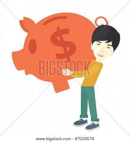 A chinese Businessman carries on his two arms his big piggy bank for economy purposes saving money is very important. Investment concept. A Contemporary style. Vector flat design illustration isolated