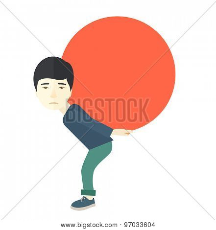 An asian businessman sacrifice in carrying a big ball going up to reach the goal concept. A Contemporary style. Vector flat design illustration isolated white background. Square layout.
