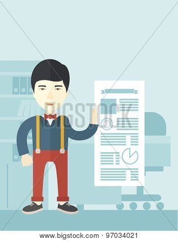 A chinese man happy standing inside his office showing his complete paper works report on time. Achievement concept. A Contemporary style with pastel palette, soft blue tinted background. Vector flat