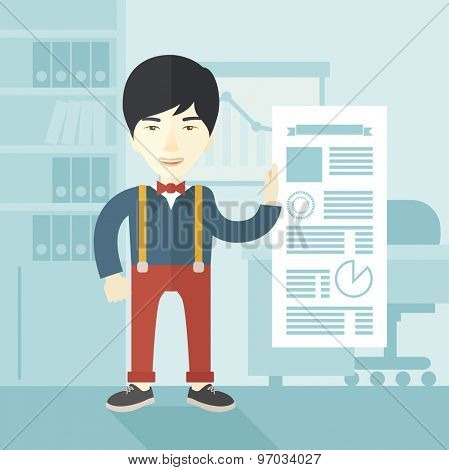 A chinese man happy standing inside his office showing his complete paper works report on time. Achievemnet concept. A Contemporary style with pastel palette, soft blue tinted background. Vector flat