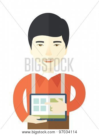 A chinese man standing while his hand pointing to the tablet to do his office presentation with the schedule of financial market. Business concept. A contemporary style. Vector flat design