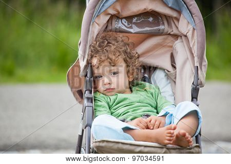 Baby Boy Outdoor In Stroller