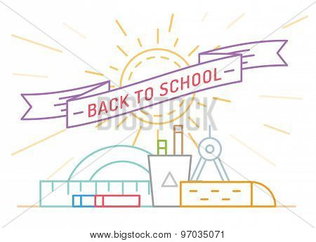 Back to school. Education, books, university and college, board or knowledge, book. Stock design