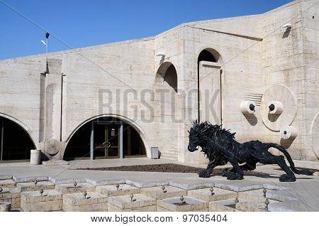 Modern art statue (lion) near Yerevan Cascade giant stairway in Yerevan Armenia