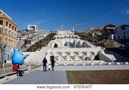 Tourist's visiting main Yerevan landmark - Cascade stairway in Yerevan, Armenia
