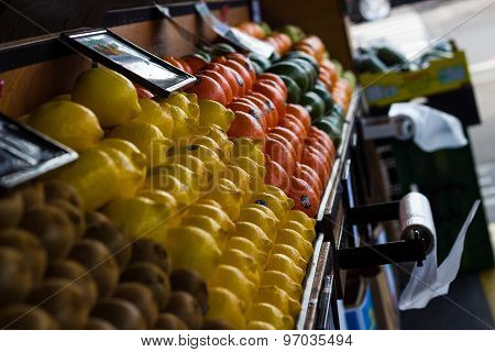 Fresh Fruit On Sale At A Market