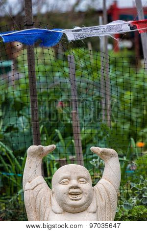 Buddha With Arms Over Head Smiling
