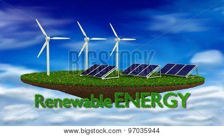 island with wind turbines and solar panels renewable energy