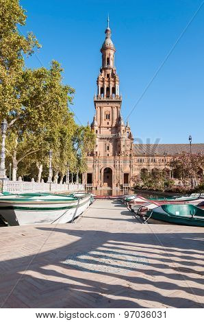 Tower Of The Plaza De Espana In Seville