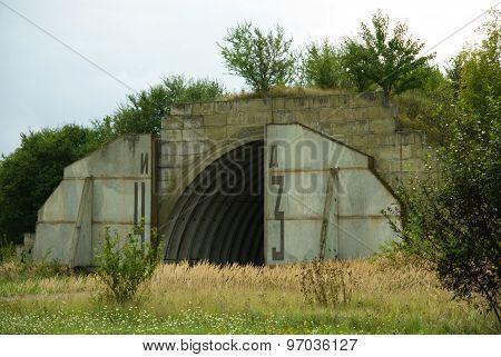 Abandoned military aircraft hangar