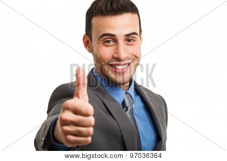 Businessman doing thumbs up sign