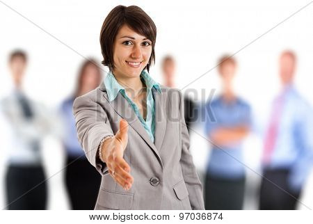 Business woman offering an handshake