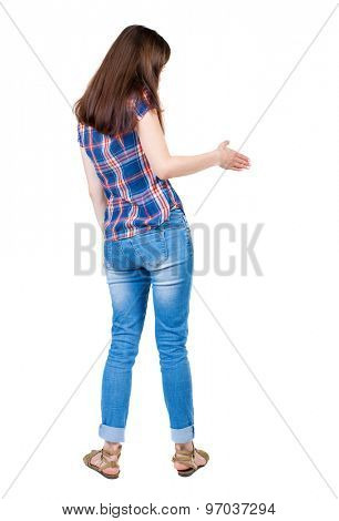 back view woman shake hands. Rear view people collection. backside view of person. Isolated over white background. A young girl in a checkered blue with red stripes stretches right hand for handshake