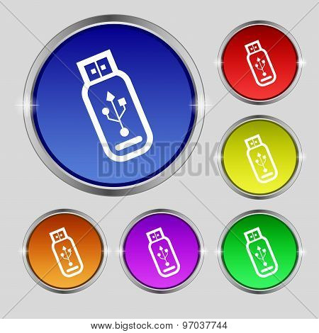Usb Flash Drive Icon Sign. Round Symbol On Bright Colourful Buttons. Vector