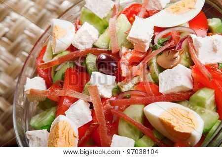 Salad With Tomato, Eggs, Cucumbers And Cheese