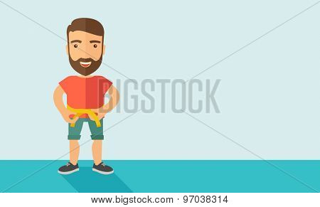 A caucasian is practicing karate exercise without a karate costume. Contemporary style with pastel palette, soft blue tinted background. Vector flat design illustrations. Horizontal layout with text