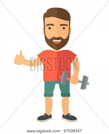 A caucasian man holding dumbells and showing his approve finger sign. A Contemporary style. Vector flat design illustration isolated white background. Vertical layout.