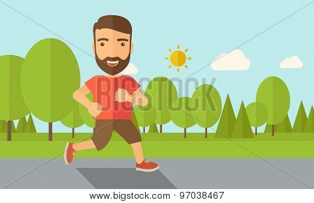 A confident hipster athlete getting ready for a running race. Contemporary style with pastel palette, soft blue tinted background with desaturated cloud. Vector flat design illustrations. Horizontal