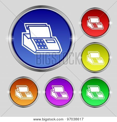 Cash Register Machine Icon Sign. Round Symbol On Bright Colourful Buttons. Vector