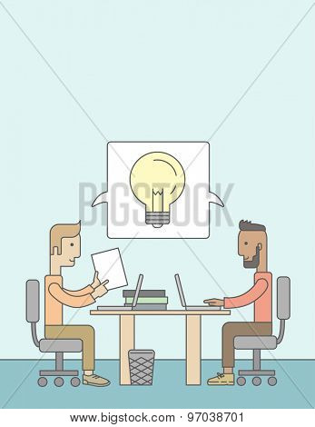 A Two caucasian businessmen sitting working together getting a brilliant ideas from internet using their laptop. A Contemporary style with pastel palette, soft blue tinted background. Vector flat