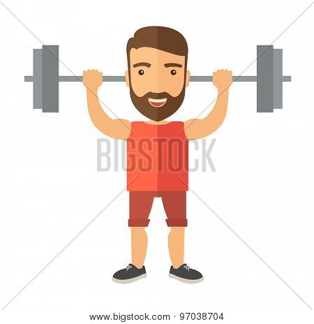 A handsome caucasian man lifting a barbell with fitness attire inside the gym. A Contemporary style. Vector flat design illustration isolated white background. Square layout