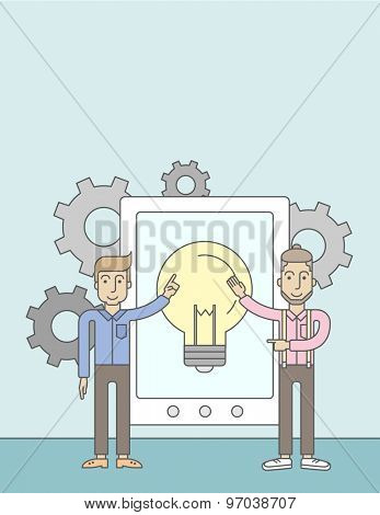A two caucasian businessmen holding a big screen tablet with bulb icon a computer tablet perspective view strategy marketing. Business concept. A Contemporary style with pastel palette, soft blue
