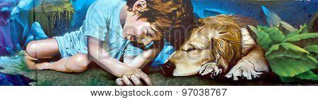 Street art Montreal child and dog