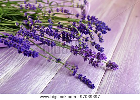 Lavender flowers on table close up