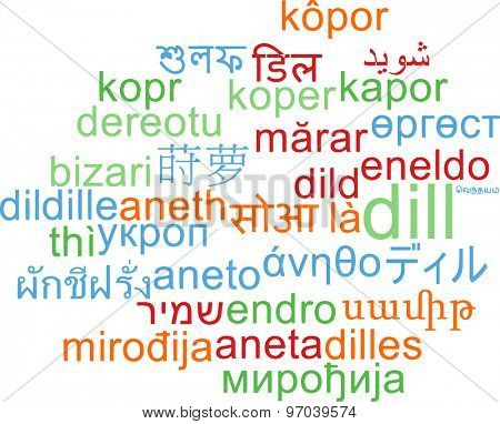 Background concept wordcloud multilanguage international many language illustration of dill