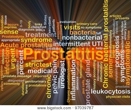 Background concept wordcloud illustration of prostatitis glowing light