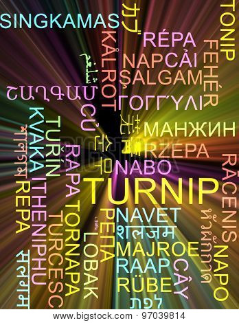 Background concept wordcloud multilanguage international many language illustration of turnip glowing light
