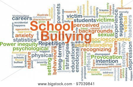 Background concept wordcloud illustration of school bullying